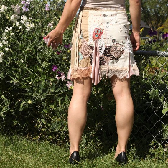 upcycled clothing wrap skirt . hanna . XS M by pondhopper on Etsy