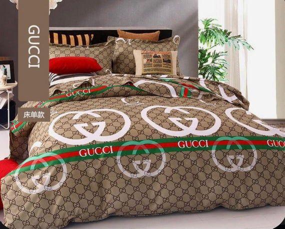 Edredon Personalizado De Lujo Y Con Clase Con 2 Fundas De Almohada 2 Paneles De Ventanas Cortina De Ducha Gucci Bedding Designer Bed Sheets Bed Linens Luxury