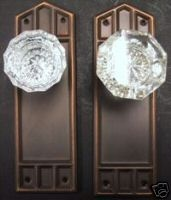 Charleston Hardware Co   Ebay Seller   $75.00 Backplate Set With Glass Door  Knobs   Craftsman