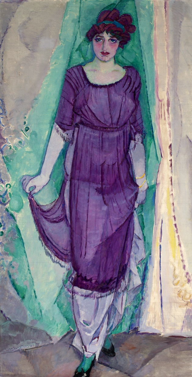 Standing woman by Jan Sluijters (1912).  Oil on canvas. Collection Frans Hals Museum | De Hallen Haarlem. On view at De Hallen Haarlem as part of the exhibition Immortalized, summer 2013. #dehallenhaarlem #painting #jansluijters #art #immortalized #collection #woman #purple