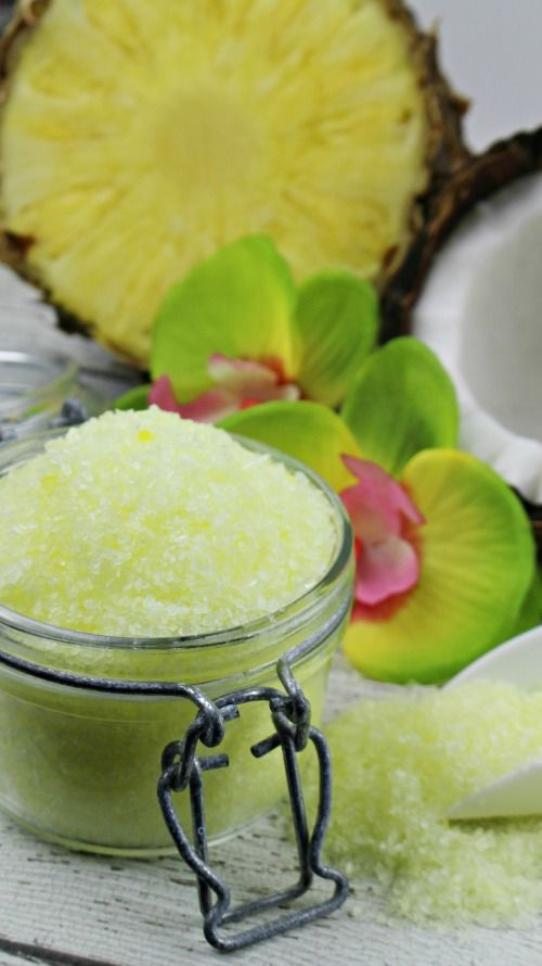 DIY Pina Colada bath salts with essential oils. I just love the way these smell, release them in a warm bath for a soothing, tropical retreat!