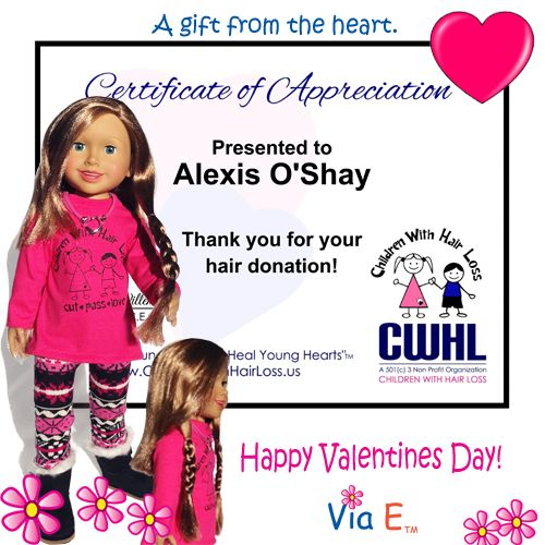 Alexis Donates to Children With Hair Loss to help girls who have lost and can't grow their own hair.