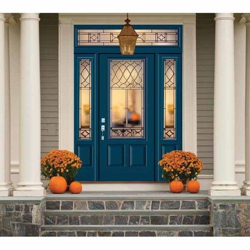 Reliabilt sheldon 3 4 lite smooth fiberglass entry door unit prefinished in eclipse lowes ad for Lowes fiberglass exterior doors