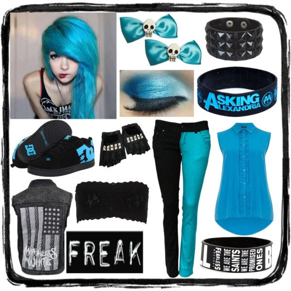 """""""Blue Scene #2"""" by xxxxcreepypastaxxxx on Polyvore>>> Minus the Asking Alexandria bracelet and maybe a different shirt and we're good ^_^"""