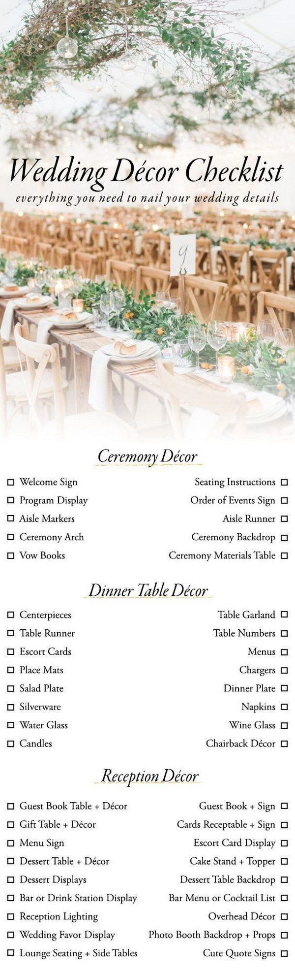 Use This Wedding Décor Checklist to Help You Nail Every Detail / http://www.deerpearlflowers.com/wedding-planning-infographics/4/ #weddingplanningchecklist