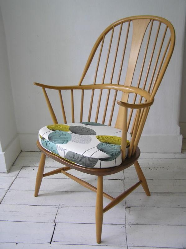 Ercol Blue Label Armchair Chair Sandersons Dandelion