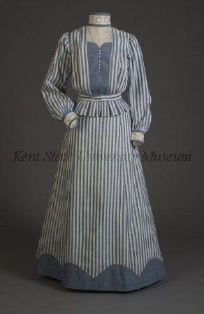 Striped cotton dress, ca. 1905 (Collection of the Kent State University Museum, 1996.58.211)