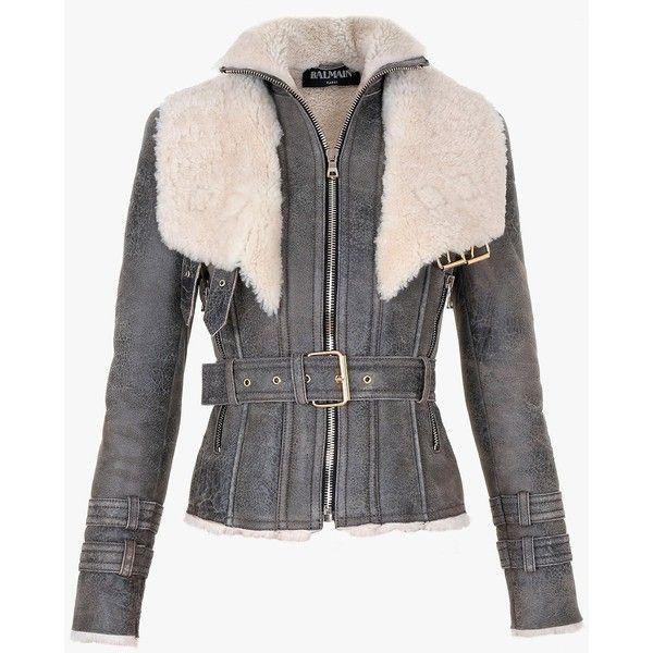 Balmain Short shearling coat ($3,040) ❤ liked on Polyvore featuring outerwear, coats, balmain, shearling coat, balmain coat, short coat and black coat