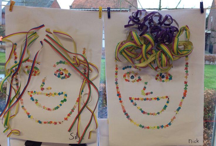 Carnavals kunstwerk van confetti en serpentine! Deze zijn gemaakt door leerlingen van groep 3/4.