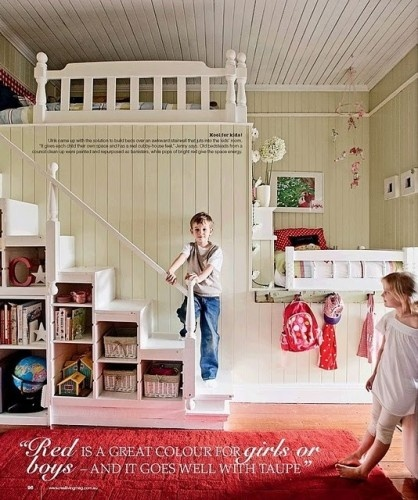 Cute!  I'd build it where there was a playhouse underneath to maximize the space.: Kids Bedrooms, Turning One, The Loft, Shared Kids Rooms, Bunk Beds, Shared Rooms, Shared Bedrooms, Loft Beds, Girls Rooms