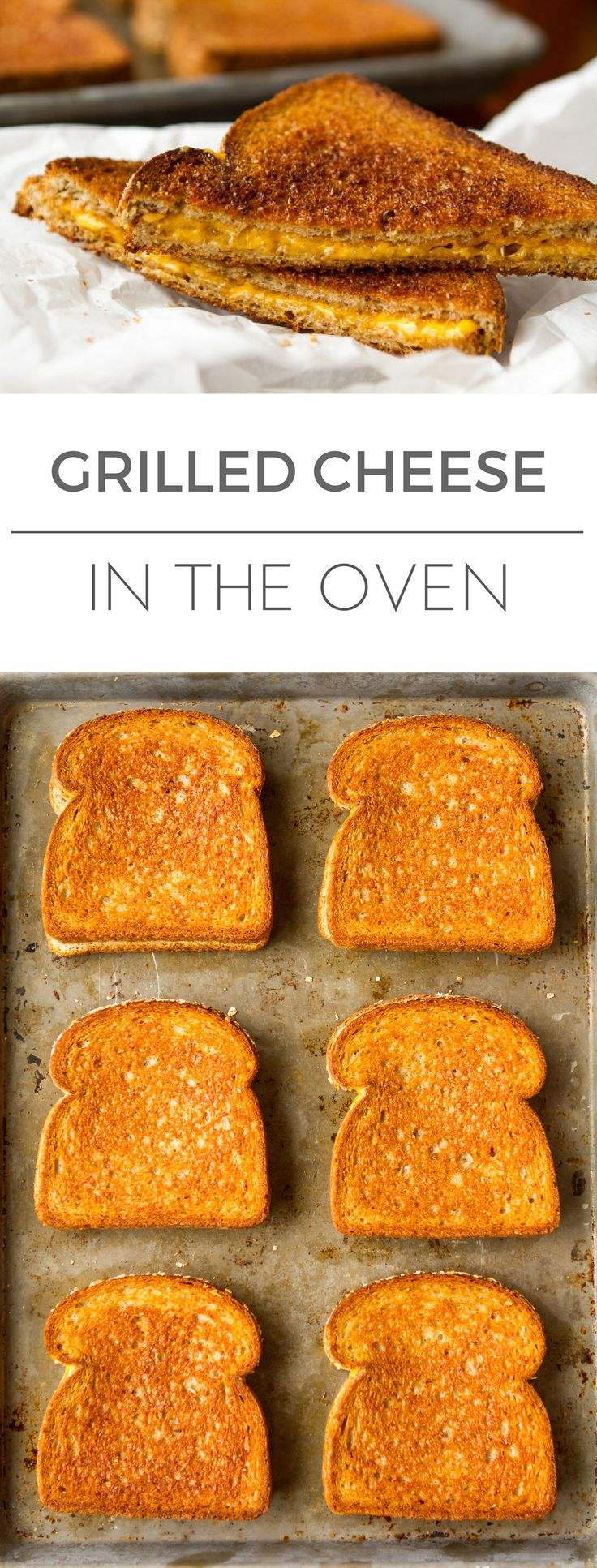 Grilled Cheese in the Oven -- this simple method makes 6 classic grilled cheese sandwiches per half sheet pan, hot and fresh from the oven, in just about 10 minutes! Perfect for pairing with your fave tomato soup recipe... | via @unsophisticook on unsophisticook.com