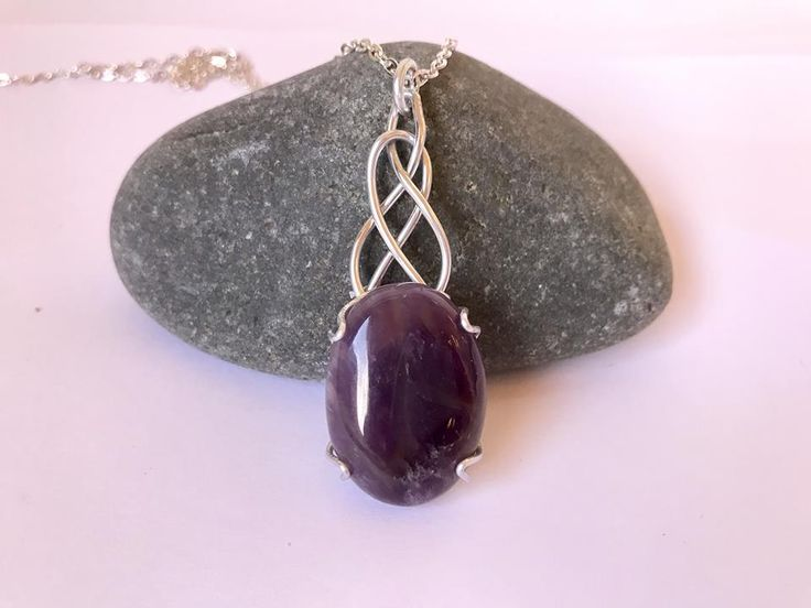 Celtic wire wrapped jewelry, pendant, bracelet and earring TUTORIAL. 5 celtic signs, knots designs in one collection.  Wire wrapped cabochon gemstone pendant with amethyst, silver jewelry, purple pendant with chain necklace