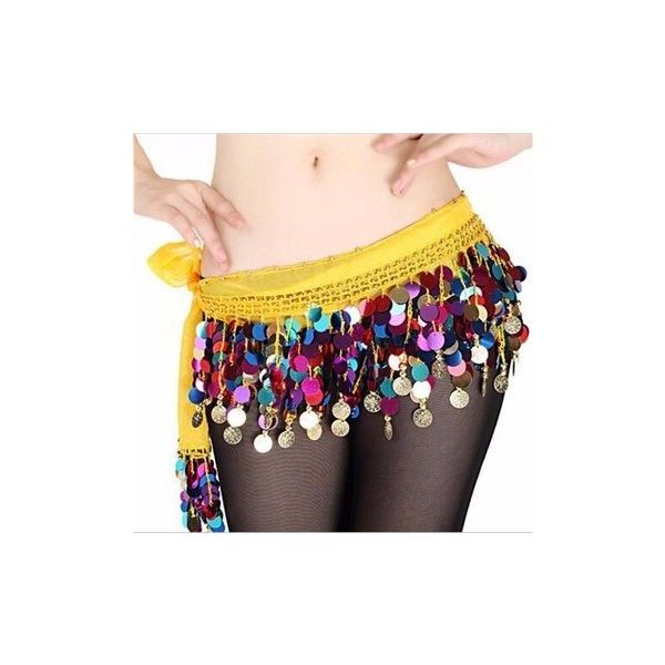 Chiffon Belly Dance Costume 2 Rows Colorful Coin Sequins Hip Scarf... (155 MXN) ❤ liked on Polyvore featuring costumes, yellow, belly dancer costume, sequin costume, rose costume, belly dancer halloween costume and colorful halloween costumes