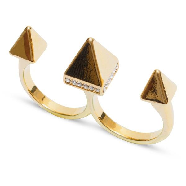 Üçlü Piramid Yüzük Sarı
