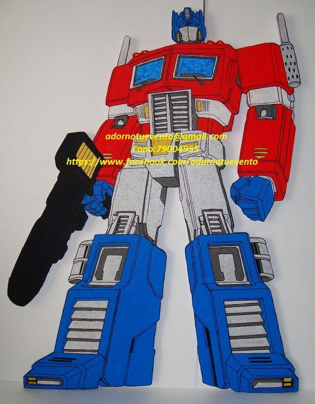 Transformer Optimus Prime, cortado  en plumavit y pintado a mano de 85 cms.