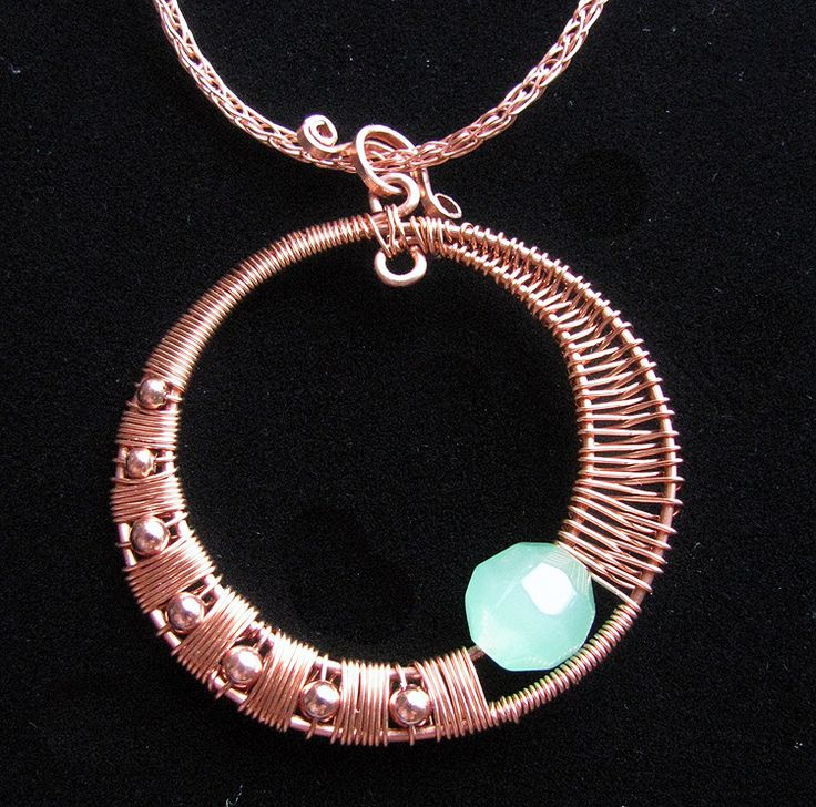 copper wire jewelry designs - not crazy about the bead, but love the wire wrapping, esp. the overhand on the left