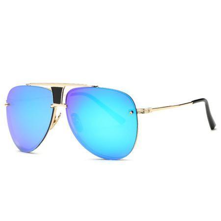 Fashion Frameless Pilot Mirrored Sunglasses