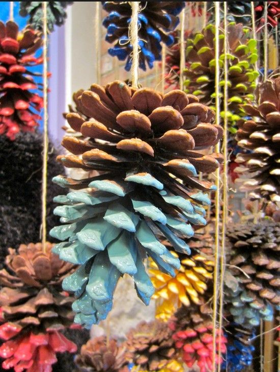 2013 Christmas colorful Pinecone Crafts, Christmas Pinecone Crafts idea, 2013 Christmas Pine cone ornaments DIY
