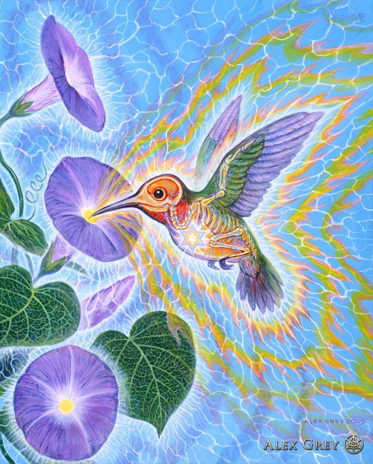 Hummingbird - 2005, acrylic on wood, 8 x 10 in. Alex Grey