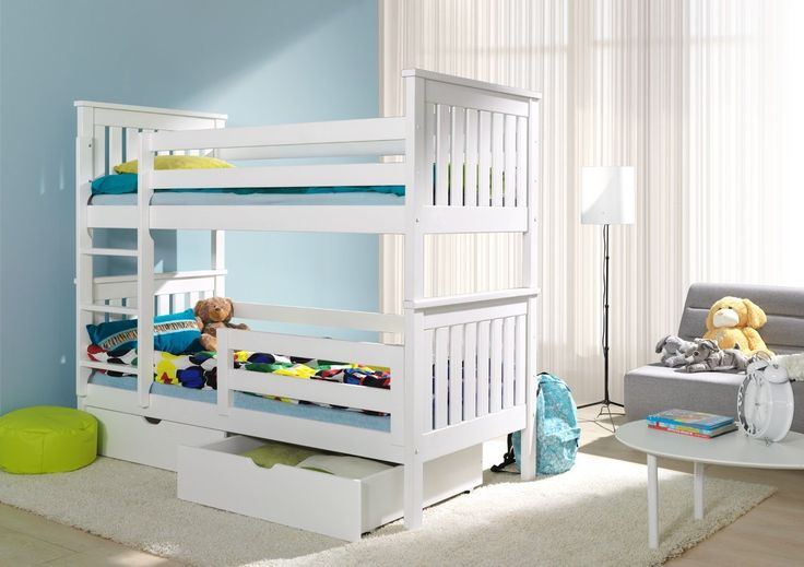 GIRLS WHITE OR PINK BUNK BEDS , BOYS NATURAL PINE OR BLUE BUNK BEDS , | eBay
