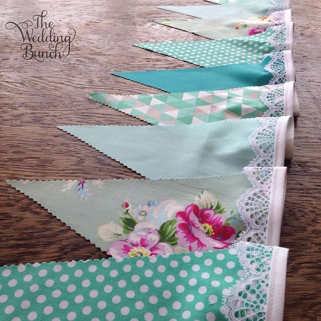 Mint & Turquoise shades, YUM!  We custom make bunting in a huge range of colours and have over 100 gorgeous fabrics to choose from.