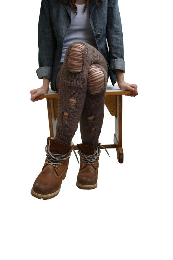 Free Shipping  Brown Knitted Stretch Tight  Pants Ripped Leggings Legwarmer on Etsy, $49.00