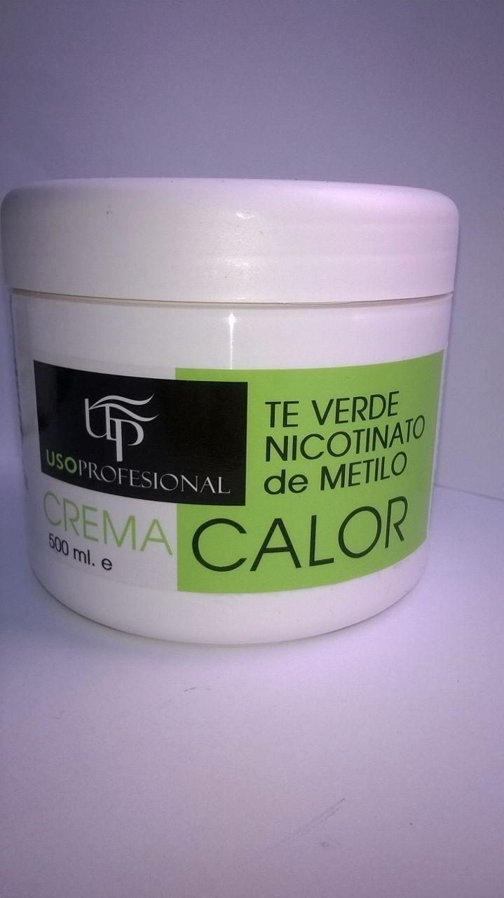 Crema efecto calor con te verde y  nicotinato de metilo de Uso Profesional, 500 ml.