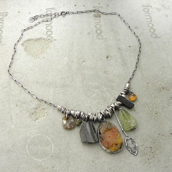 Studio Formood - Handmade necklace is made of oxidized sterling silver 925 and Amber, green & black tourmaline, ancient glass, hessonite and raw sterling silver