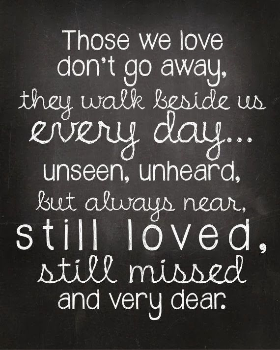 Those we love, don't go away. Letting go... Sadness, Grief, Heartache, Mourning, Regret, Sorrow, Pain, Hurt, Ache and Loss