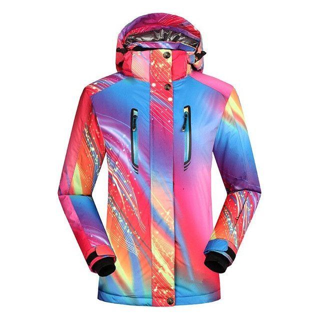 waterproof windproof snowboard down coat graffiti print female jacket