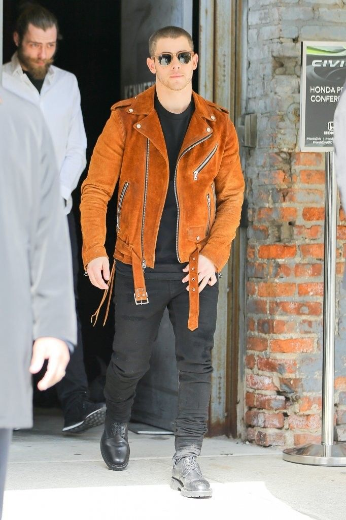 Nick Jonas out and about in New York City  #nickjonas #amiri #mikeamiri #leatherjacket #jeans #newyorkcity