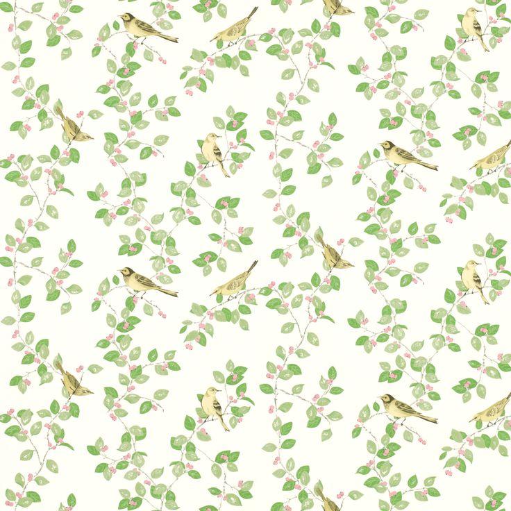 Aviary Garden Apple Green Wallpaper