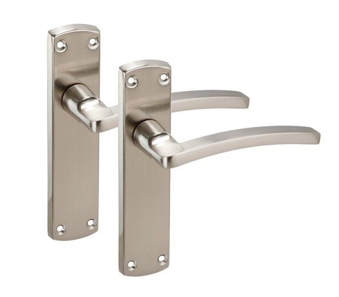 Brushed Chrome Door Handles on Backplate with Arched Lever H751261S