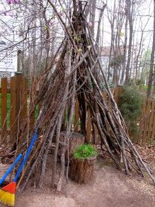 Sticks make the perfect fort ~ best part the are free!  Lots of fun ideas for outdoor play!