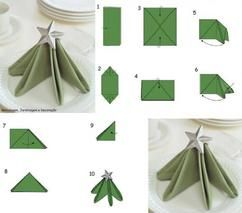 Deze servet is super mooi voor de Kerstavond....De ster maakt het af . ......(de sterretjes zijn te koop bij Action of Blokker , enz. ..