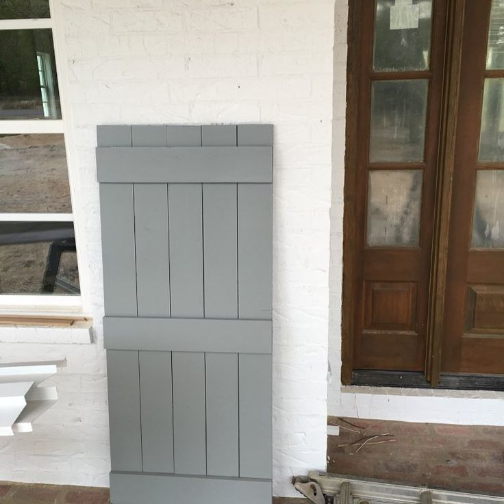 Sherwin Williams Pure White paint on brick, SW Earl Grey on shutters - Providence Ltd Design