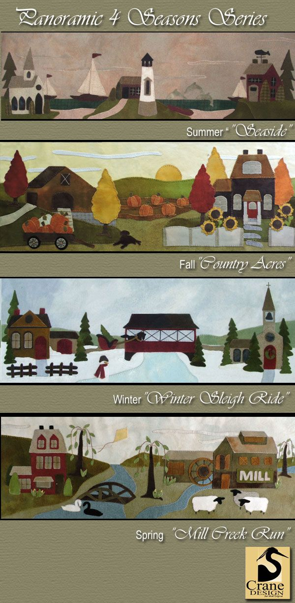 """""""4 Seasons"""" Wool Applique Patterns. Designed & stitched by Jan Mott of Crane Design. Check out my blog spot to see shops that offer this pattern. Please respect the designer as the pattern is copyrighted"""