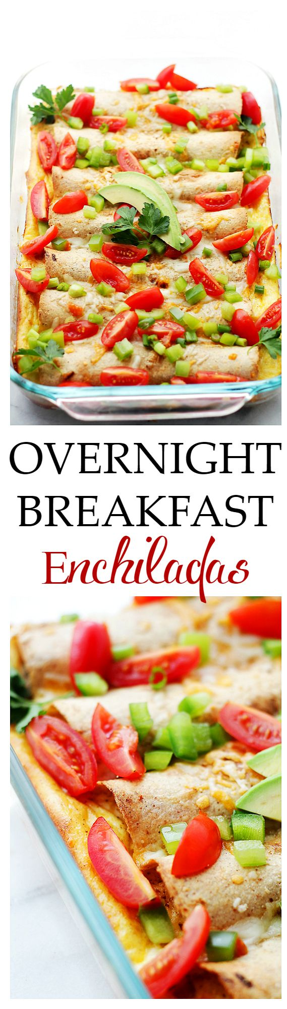 Overnight Breakfast Enchiladas - A delicious breakfast casserole that can be prepped the night before and baked the next day!  Get the recipe on diethood.com