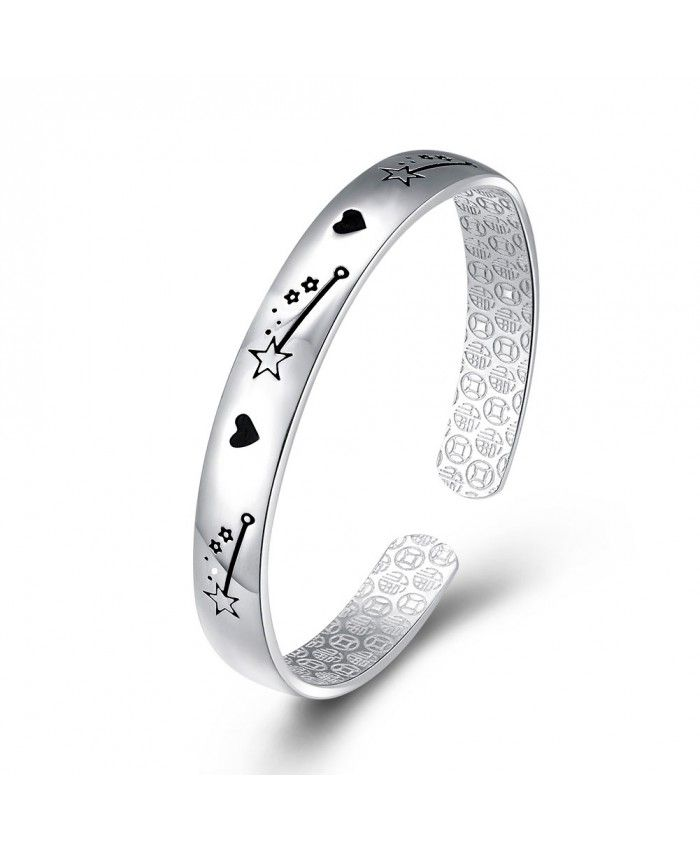 New Fashion 925 Sterling Silver Open Bracelet With Love and Star
