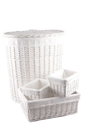 """4 piece laundry set includes 1 laundry basket, 1 medium utility basket and 2 small utility baskets. All baskets are made from woven willow and are lined with polycotton.<div class=""""pdpDescContent""""><BR /><b class=""""pdpDesc"""">Dimensions:</b><BR />L50xW36xH55 cm</div>"""