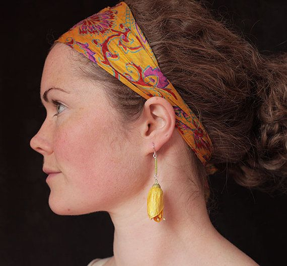 Kowhai native New Zealand yellow flower earrings by Silkpods