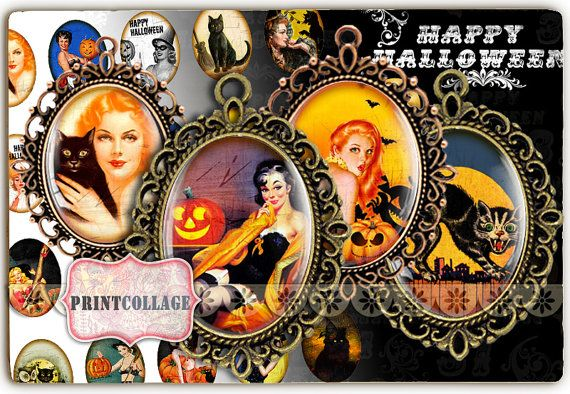 Digital Printable Sheets Halloween Pin Up 40x30 30x22 25x18 18x13mm Cabochon oval images Clip Art for pendants Instant download images C122 by printcollage. Explore more products on http://printcollage.etsy.com