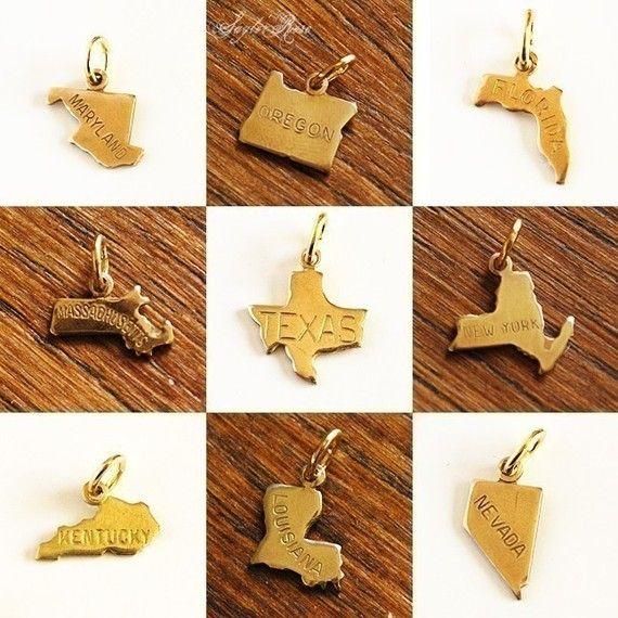 Teeny Tiny State Necklace  custom charm pendant by saylorrose, $19.00
