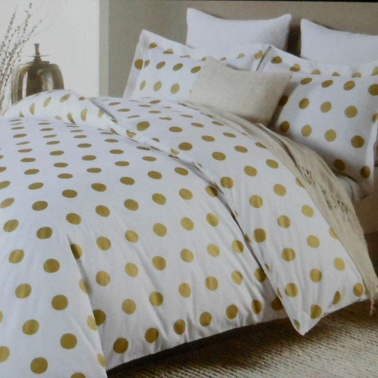 Nicole Miller LARGE POLKA DOT 3PC Queen DUVET SET Gold on White Cotton Dots #NicoleMiller