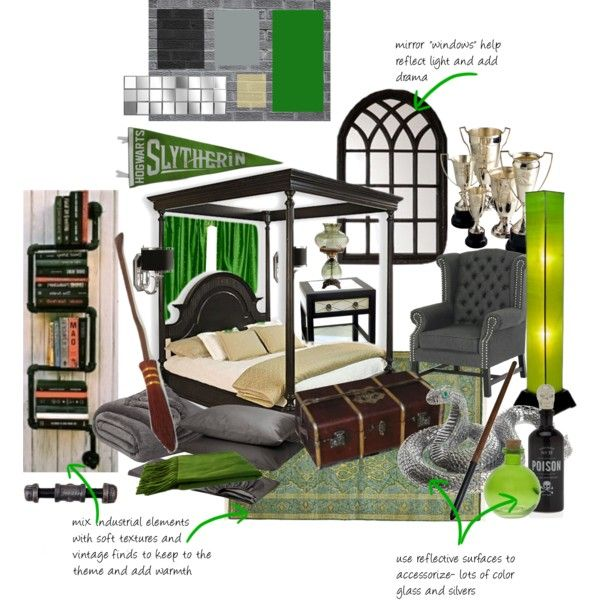 Harry Potter Bedroom Decorating Ideas Modern One Bedroom Apartment Design Black Leather Bedroom Suite Bedroom Colours For Dark Rooms: Slytherin Dorm Room