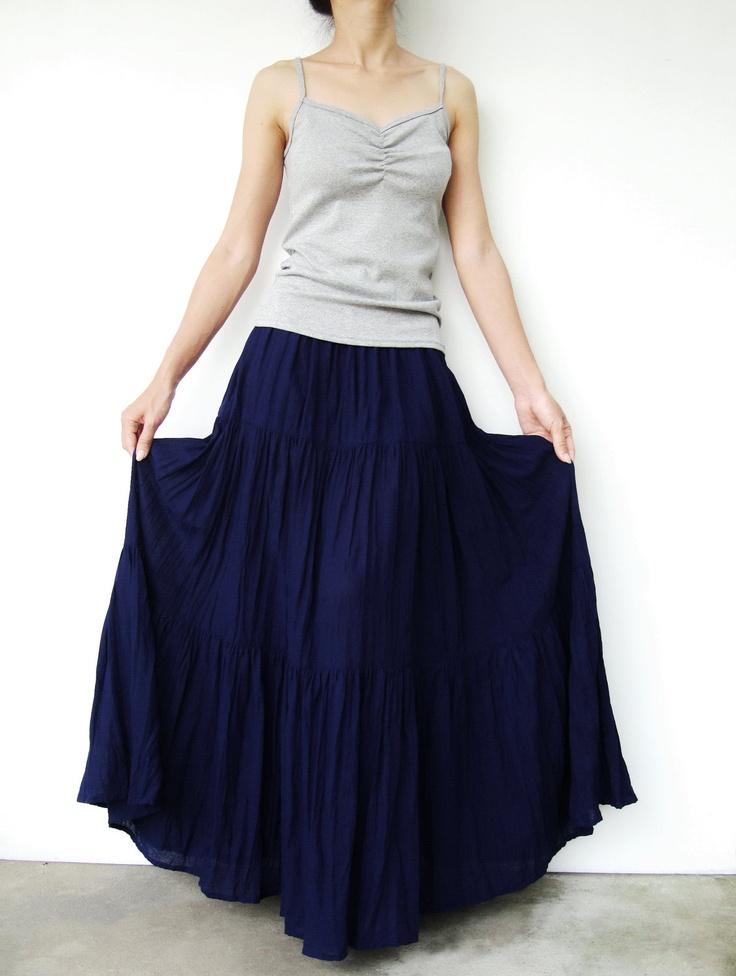 NO.5  Indigo Blue Cotton, Hippie Gypsy Boho Tiered Long Peasant Skirt. $38.00, via Etsy.