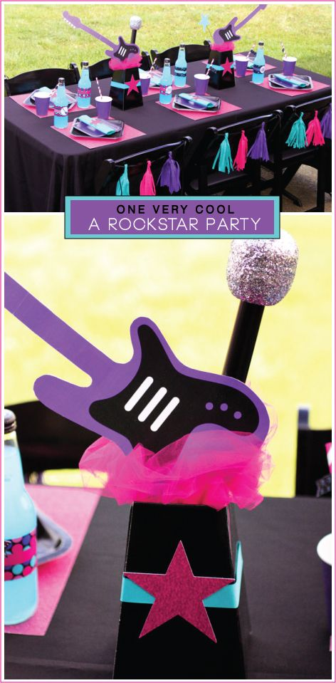 ROCK STAR-PARTY FOR GIRLS-These will be for the tables need to make 4 2pink 2purple !Need 4 tubes pink and purple poster board 4 paper towel rolls 4 foam circles pink ribbon purple ribbon SAS pink glitter purple glitter some cereal boxes 1yard hot pink tulle 1yrd purple tulle SAS!