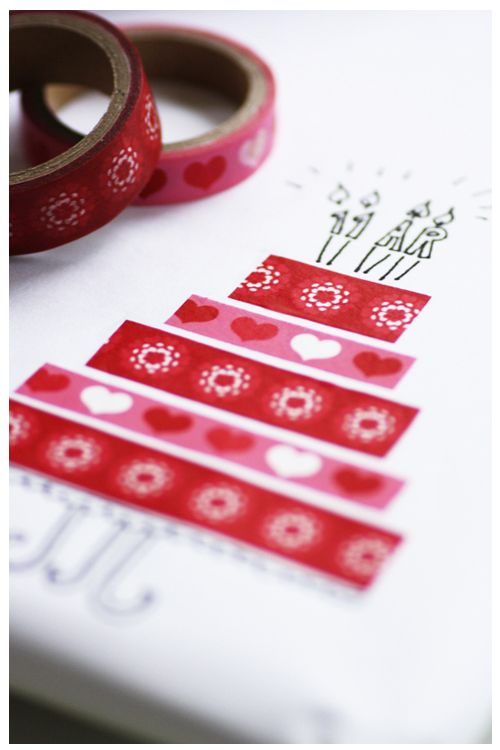 Washi tape valentine's card.  Website does not link to the correct post, but blog looks interesting (in Swedish though!).