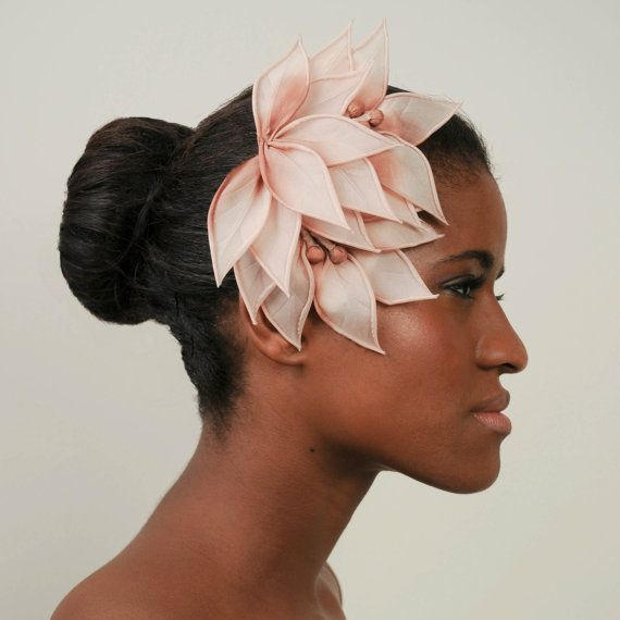 Ombre blush pink bridal fascinator, silk. Elinor McRae Bridal.