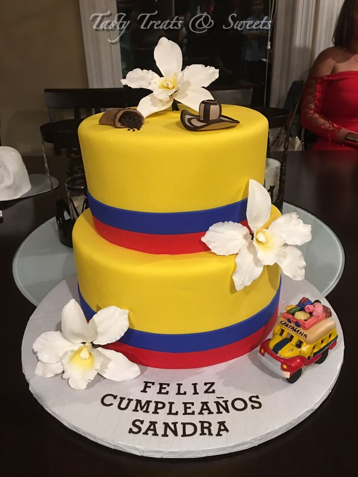 Colombian Colors Birthday Cake #Marble #Fondant #coffeebeans #Orchids #gumpaste